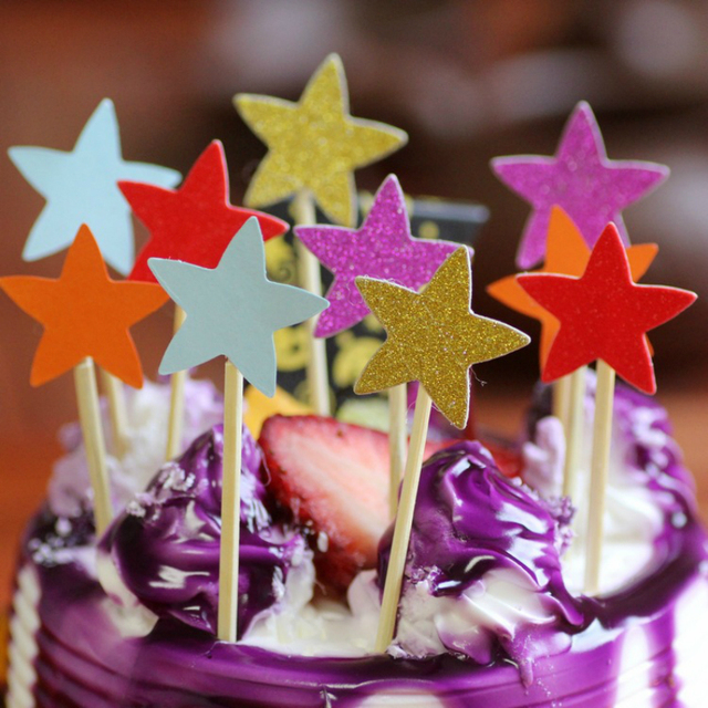 10pcs Lot Bling Star Shape Frosting Cupcake Toppers Birthday Party Decoration Insert Card Baby Shower Wedding