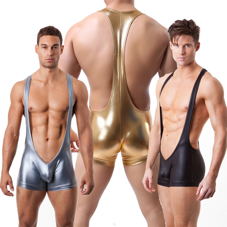leather wrestling singlet Sexy  Men gay underwear Sports Bodysuit Catsuit Wrestling Singlet combinaison latex homme zebra underwear