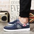 2016 Моды для Мужчин Повседневная Обувь Джинсовой Парусиновые Туфли Британский Флаг Зашнуровать Дышащая Мужская Обувь Повседневная Zapatos Hombre A2877