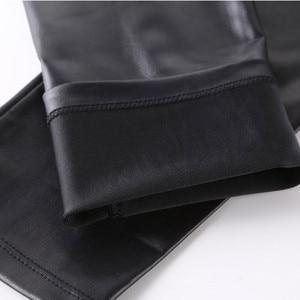 Image 4 - FSDKFAA 2018 женские леггинсы с завышенной талией из искусственной кожи, черные женские атласные штаны со змеиным принтом