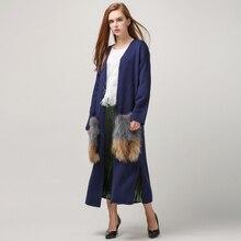 [TWOTWINSTYLE] Весна съемный натуральный мех карманы длинный кардиган пальто для женщин вязаная мода Одежда Новый