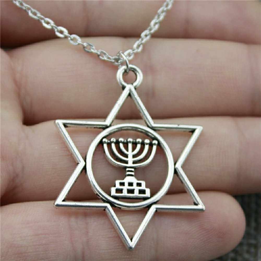 Kadınlar için kolye Judaism Menorah yıldızı David kolye kolye 39x32mm gümüş kaplama renk moda takı