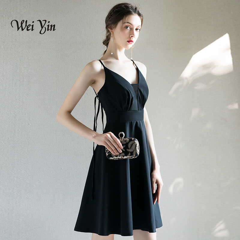 Weiyin Cocktail Dresses Black Women Elegant V-Neck Sleeveless Short Cocktail Dress 2018 For Homecoming New Vestidos WY747