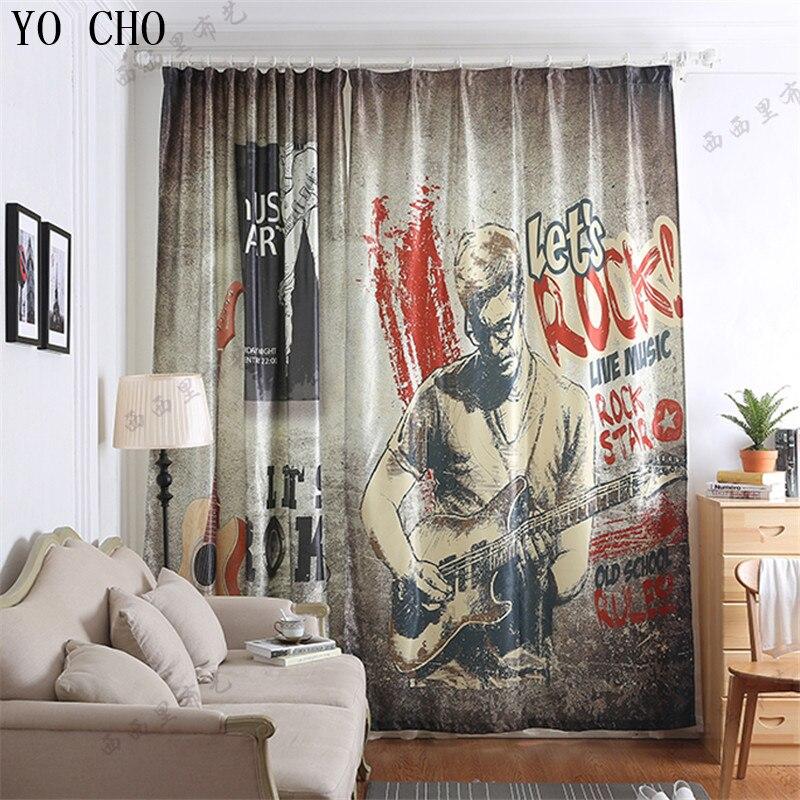 YO CHO nouveau rideau Rock guitare motif 3d tende per il salone rideau occultant cortinas occultant prêt à l'emploi rideaux pour enfants