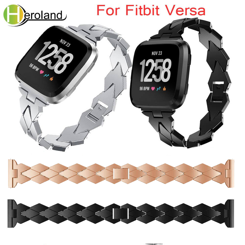 watchbands Accessories alloy steel Watch Strap For Fitbit Versa Band Screwless Bracelet Replacement Metal For Fitbit Versa