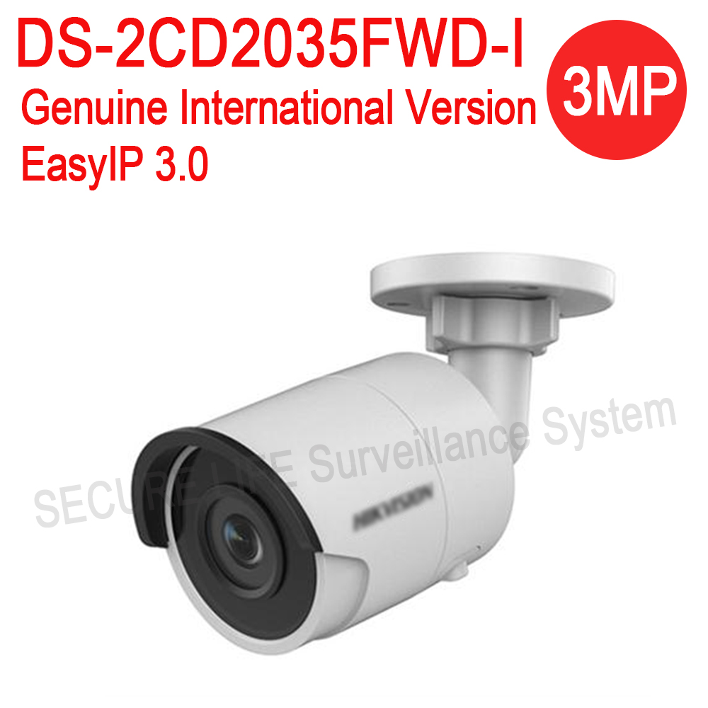 Free shipping English version DS-2CD2035FWD-I 3MP Ultra-Low Light Network mini Bullet IP CCTV security Camera POE SD card H.265+