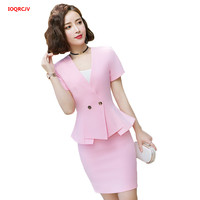 Women Summer Sets Elegant Pink Formal Uniforms Styles Blazers Suits With Skirt and Jackets Set For Ladies Office Work Wear W925