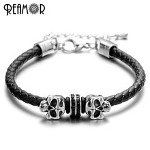 REAMOR 316l Stainless Steel Skull Beads Men Bracelets 5mm Braided Leather Rope with Adjustable Chain Bangles For Women Men(China)