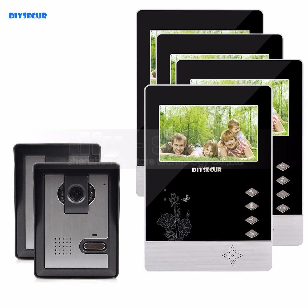 DIYSECUR 4.3 inch TFT LCD Indoor Monitor + 600 TVLine HD Camera IR Night Vision Video Door Phone Video Intercom 2V4 hc520 2 5 lcd indoor