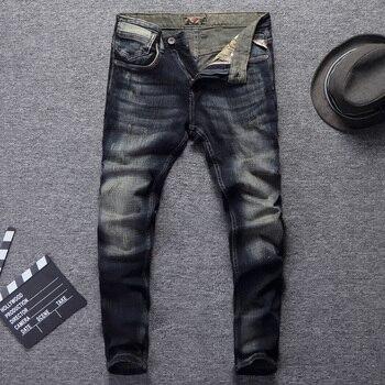 цена на Italian Vintage Style Fashion Men Jeans Retro Wash Dark Color Slim Fit Classical Jeans Men Ripped Pants Streetwear Hip Hop Jeans