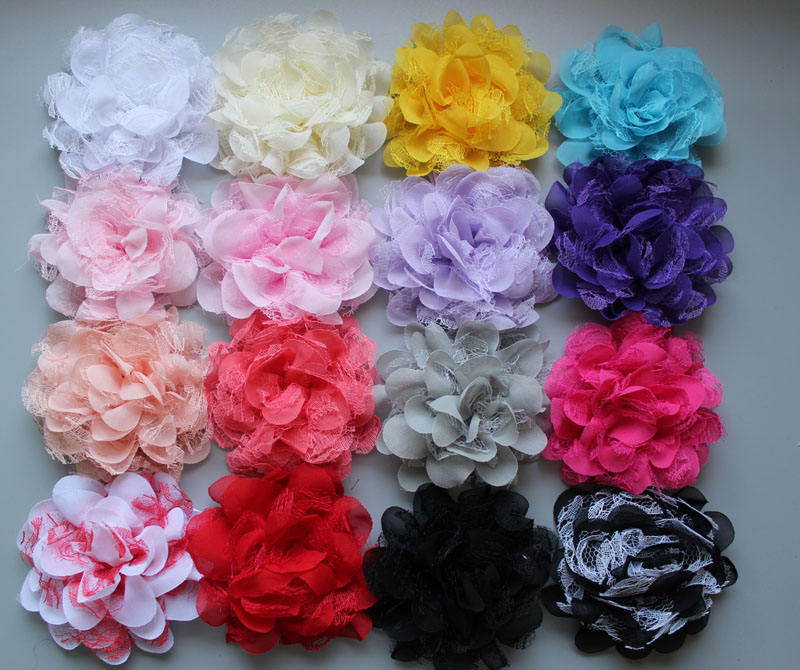 wholesale big Chiffon Lace Flower For kids Girls Headbands Hair Accessory  60pcs lot Freeshipping a12efd16bdbd