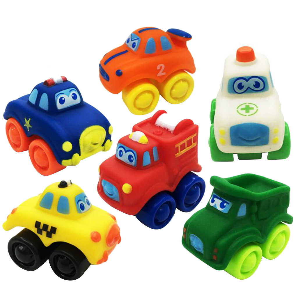 6 Pieces Kids Children Rubber Plastic Model Car Vehicle Educational Toy Gift