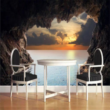 Custom wallpaper 3D stereo cave seascape sunrise background wall painting decorative waterproof material