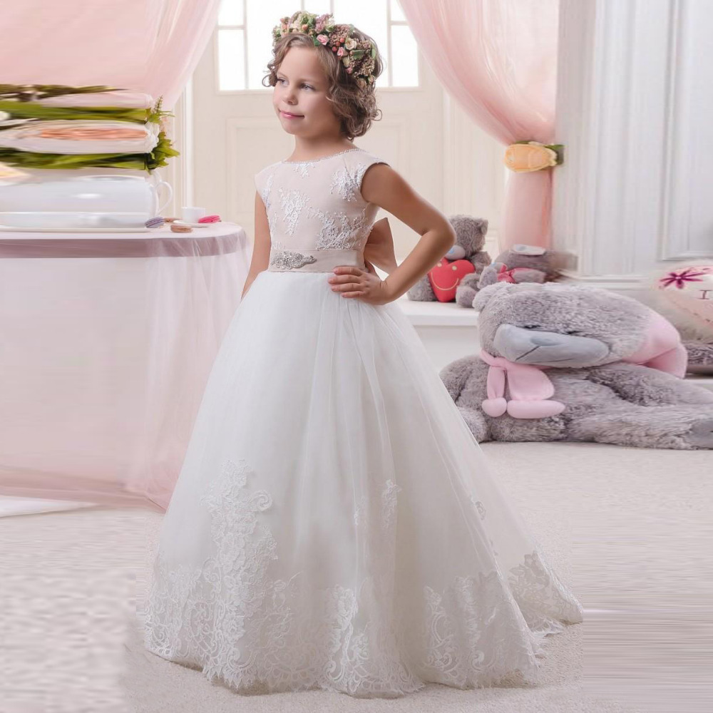 0f0633c34d7 Cheap White Lace Flower Girl Dresses For Wedding Cap Sleeve Open Back Holy  Communion Dress Princess A-Line Tulle Pageant Gown
