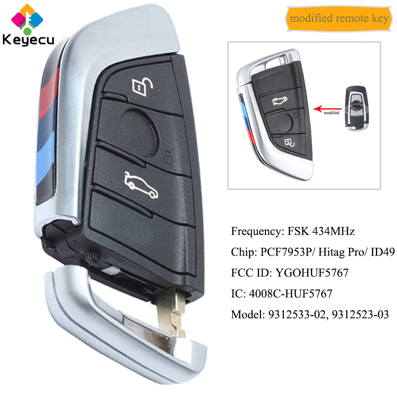 KEYECU Modified CAS4 CAS4+ FEM Smart Remote Key With 3 Button 434MHz   FOB for BMW X3 F25 X4 F25 M2 F87 M3 M4 F80 F82 YGOHUF5767|Car Key| |  - title=