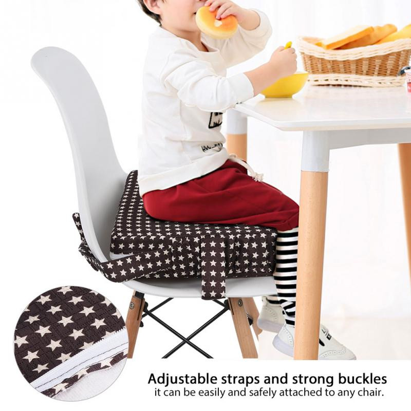 Kids Portable High Chair Booster Seat Cushion For Table Dismountable Toddler Washable Travel Thick Chair Seat Pads Buckle Strap