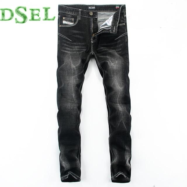 2017 nueva marca famosa mens biker jeans de moda skinny jeans hombres mediados de rayas delgado denim pantalones vaqueros negros 30-40 U702