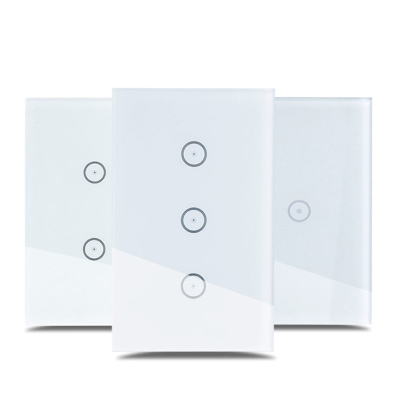 Work With Amazon Alexa Google Home Wi-Fi Glass Panel Smart Mobile Control Via Tuya App US Touch Light Wall Switch For Smart Home