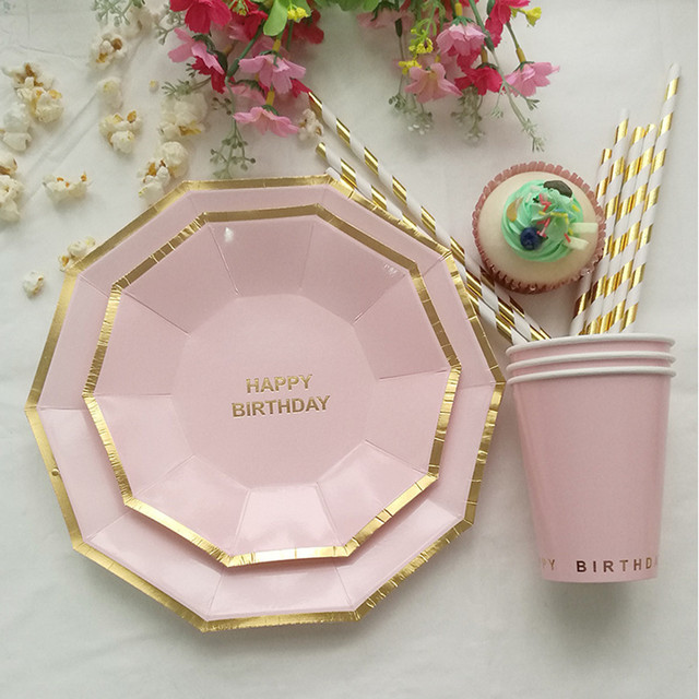 49pcs/lot Birthday Party Dinnerware Set Disposable Plates and Cups Straws Decorative Paper Tableware Food : pink disposable plates - pezcame.com