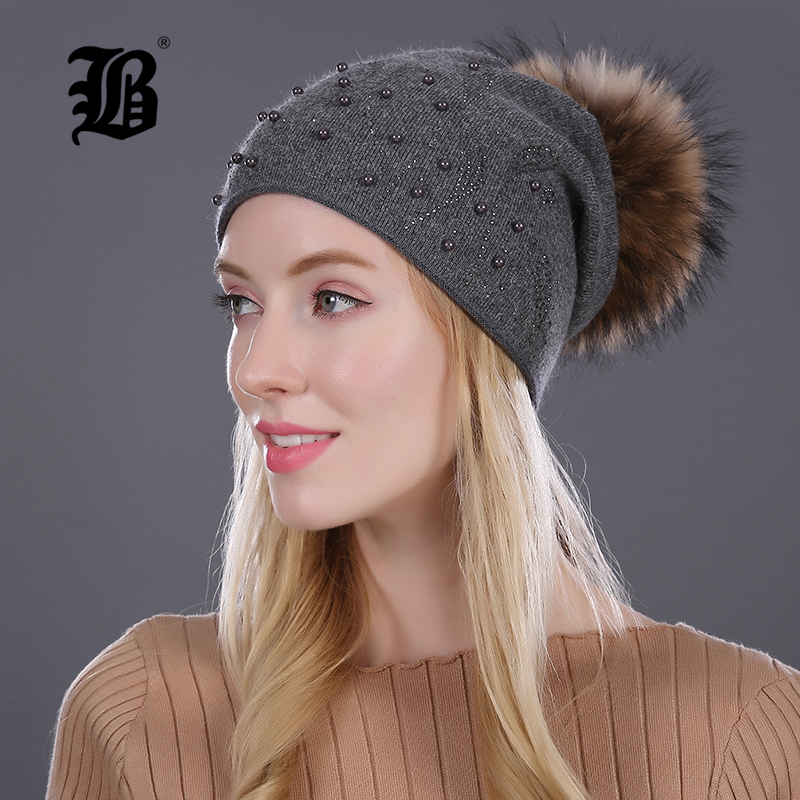 [FLB] Keep Warm Winter Hat Beanies Fur Wool Pearl Knitted Hat The Female Of The Mink Caps Beanies Hats For Women Girl 'S Cap