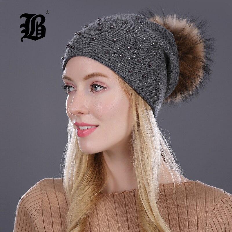 [FLB] halten Warme Winter Hut Beanies Pelz Wolle Perle Strickmütze Die weibliche Der Nerz Caps Beanies Hüte Für Frauen Mädchen kappe