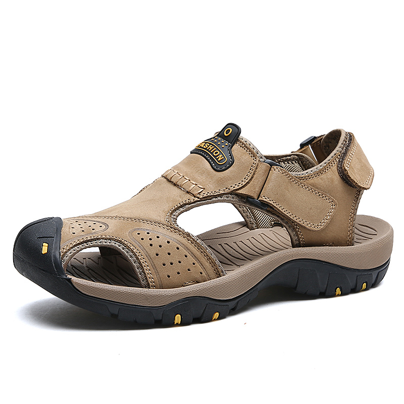 D'été Chaussures Fond Sandales Véritable kaki Mou Sandalias Luxe Respirant marron Hommes Plage En 2017 Cuir Masculine Mode De Noir 7SUq5XnW8
