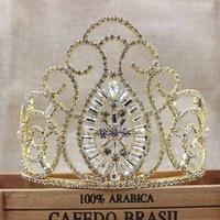 4.7 polegadas whoelsale Vintage Pavão cabelo tiaras de ouro grandes coroas de Cristal coroa de noiva acessórios do casamento tiara banda