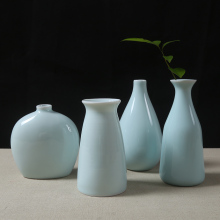 Celadon ceramic vase decorative set small ornaments Cute Mini fresh flower green glaze Office