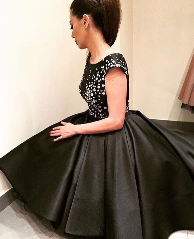 Robes De Soiree Arabic Elegant High Low Evening Dresses 2017 Black Evening dress Short Front Long Back Prom Party Gowns dubai