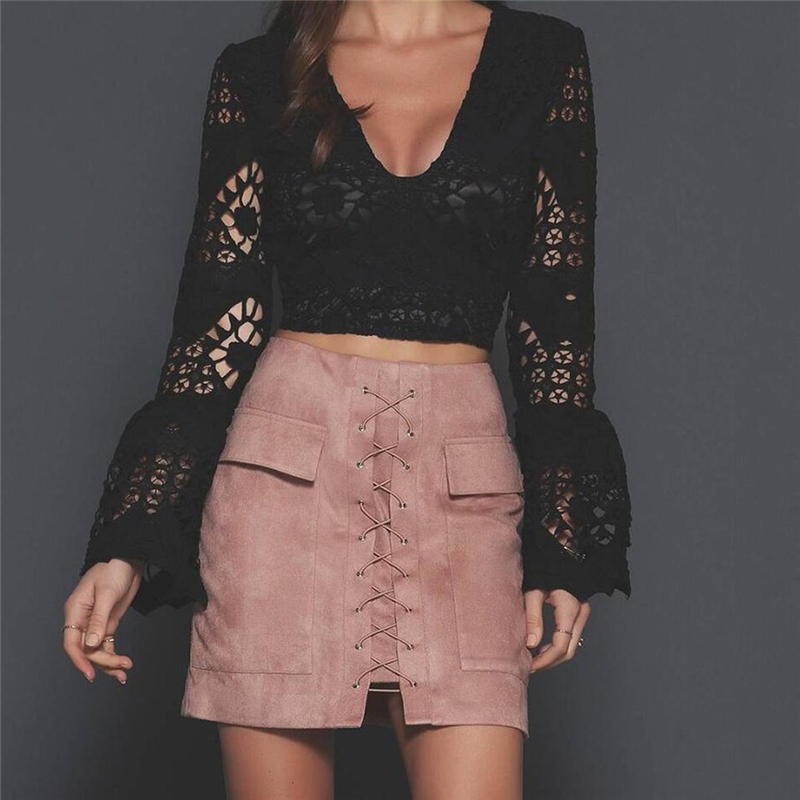 ac0f6420a5 Women's Vintage Cross High Waist External Pocket Tight Suede Lace Up Skirt  Autumn Winter Thick Pencil Skirt Preppy Mini Skirt