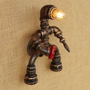 หุ่นยนต์ไอน้ำ punk สไตล์ Loft อุตสาหกรรมท่อเหล็ก retro โคมไฟ E27 LED sconce ผนังสำหรับห้องนั่งเล่นบาร์ห้องนอน
