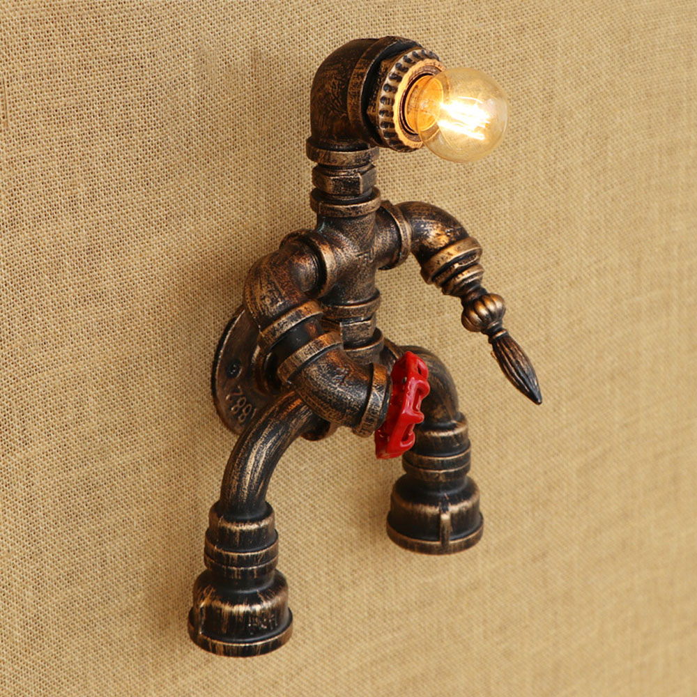 Robot steam punk style Loft Industrial iron Water pipe retro wall lamp E27 LED sconce wall lights for living room bedroom bar loft steam punk big sword style decorative iron rust water pipe wall lamp vintage e27 led sconce lights for living room bedside