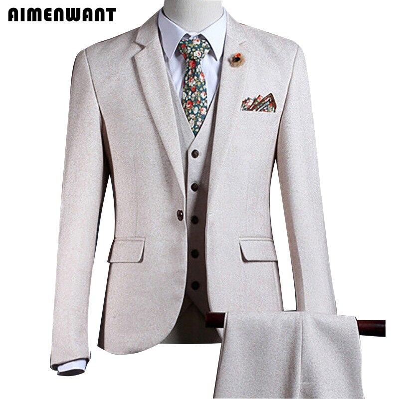 AIMENWANT Tailored Cream Blazer Europe Mens Beige Suit 3-Piece Top Quality Prom Suits For Men Cheap Father Pants Suit Sales
