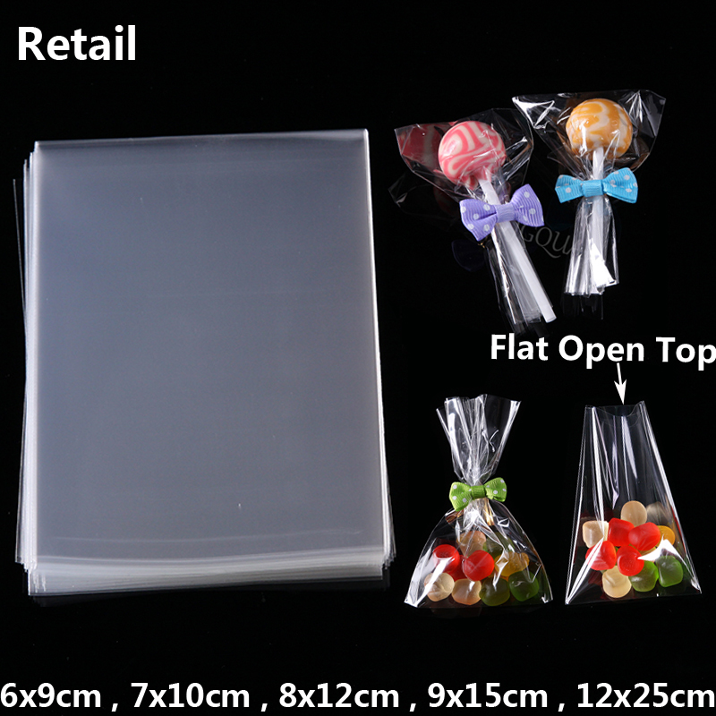 Clear Flat Open Top Small Plastic Bags Sweet Packing Chocolate Cookie Candy Packaging Bag Birthday Party DIY Decoration Gift Bag