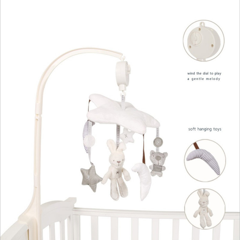 Baby bed accessories Crib Musical Mobile Cot Bell Music Box with Holder Arm Baby Bed Hanging Rattle music Toys Newborn Gift bed cradle musical carousel mobile bed bell support arm cradle music box with rope automatic carillon music box without toys
