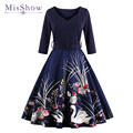 MisShow Vestidos Vintage Autumn dress Printed 60s Hepburn Casual Dress Rockabilly 4XL plus size women clothing party dress