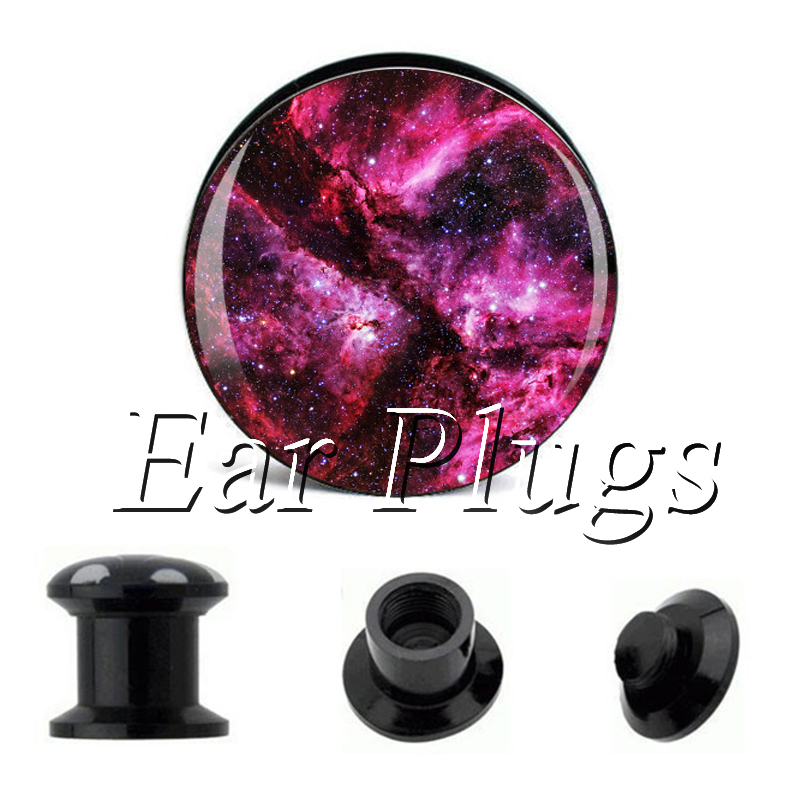Wholesale Rose Galaxy plug gauges acrylic screw ear plug flesh tunnel piercing body jewelry