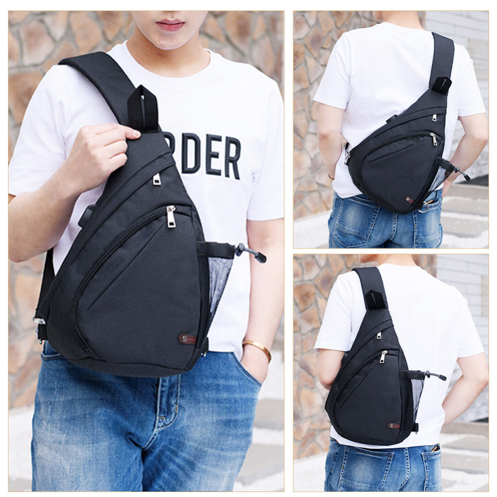 8dd0f08797fa Vbiger Newest Men s Canvas Sling Handbag USB Rechargeable High Quality Casual  Canvas Shoulder Bag Crossbody Bag Black For Male on Aliexpress.com