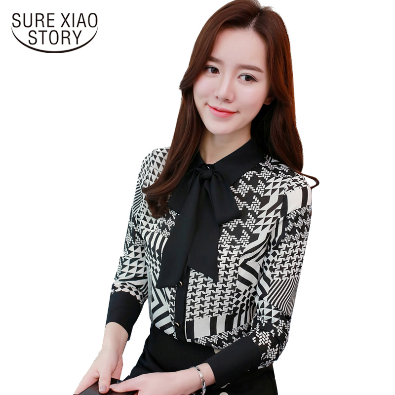 2018 New Spring Fashion Print Shirt Female Temperament