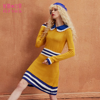 ELF SACK Women Waisted Lace Knitted Dresses Slim Womens Long Sleeve Sweet Ruffle Dresses