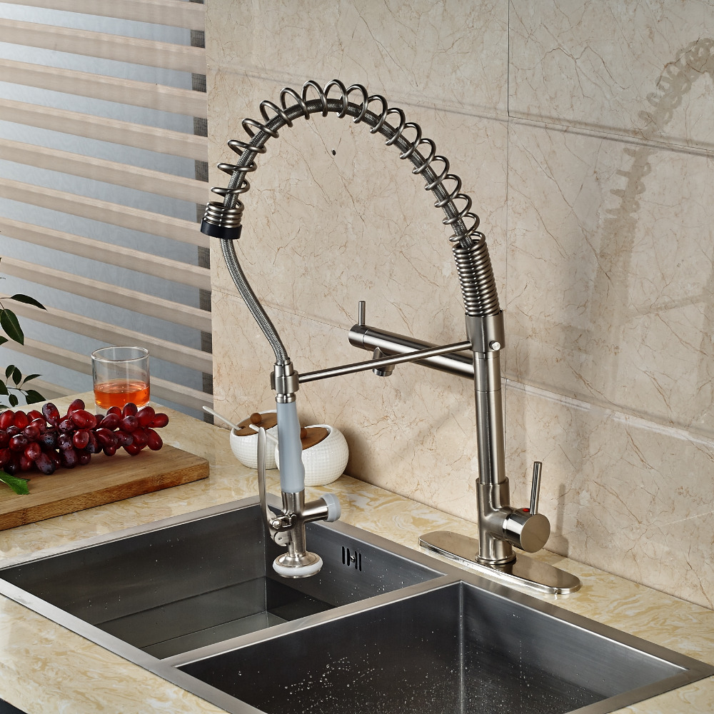 Luxury Nickel Brushed Kitchen Faucet Vessel Sink Mixer Tap 8 Cover Plate Tap