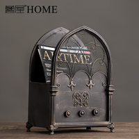 American Countryside Nordic Vintage Newspaper Blue Decoration Home Furnishing Ornaments Cafe Bar Soft Magazine Rack