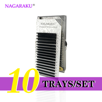 NAGARAKU 10 Trays Set J B C D Curl Length 7 15mm Mixed In One Tray