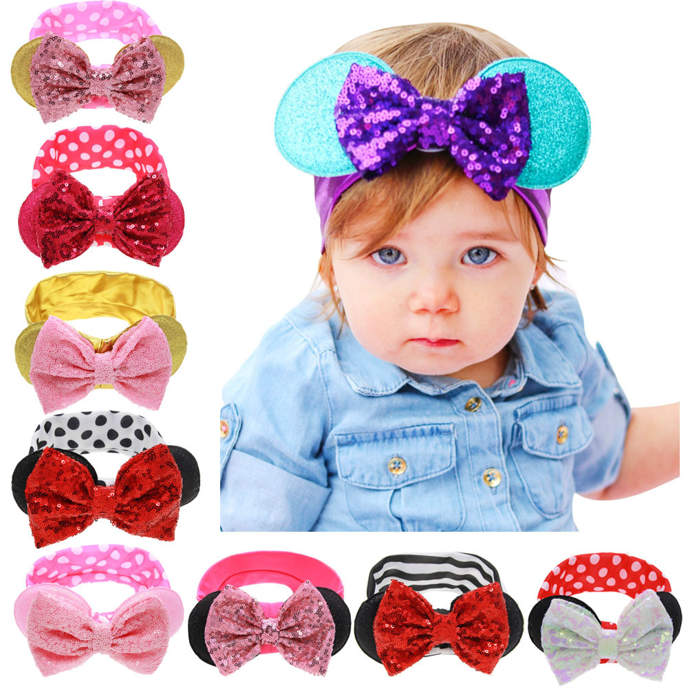 1pc Boutique Large Sequin Bows Headband Kids Minnie Mouse Ears Glitter Kids Hair Bows Hairbands Girls Hair Accessories New 2017 sequin bow minnie mouse ears headband for kids shiny glitter hair bow hairbands girls photography props hair accessories