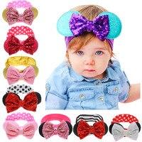 1 pieza Boutique grande lentejuelas lazos diadema niños Minnie Mouse orejas brillo niños lazos para el cabello diademas niñas accesorios para el cabello nuevo 2017