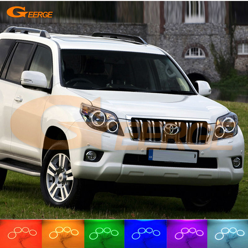 For Toyota Land Cruiser Prado J150 150 2010 2011 2012 Excellent Multi-Color Ultra bright RGB LED Angel Eyes kit Halo Rings for mercedes benz b class w245 b160 b180 b170 b200 2006 2011 excellent multi color ultra bright rgb led angel eyes kit