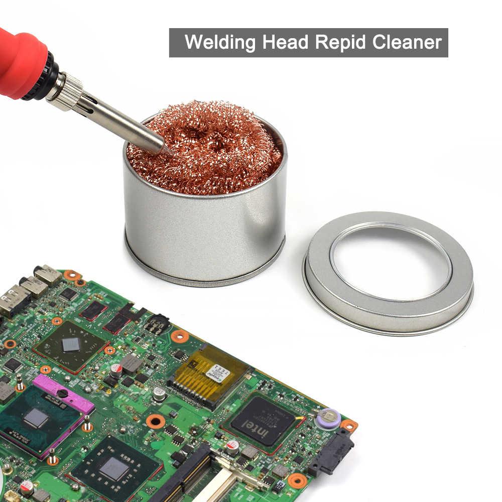 NEWACALOX tête de soudage boule de nettoyage rapide pointe de fer à souder nettoyant support de soudure outils de réparation avec fil de laiton