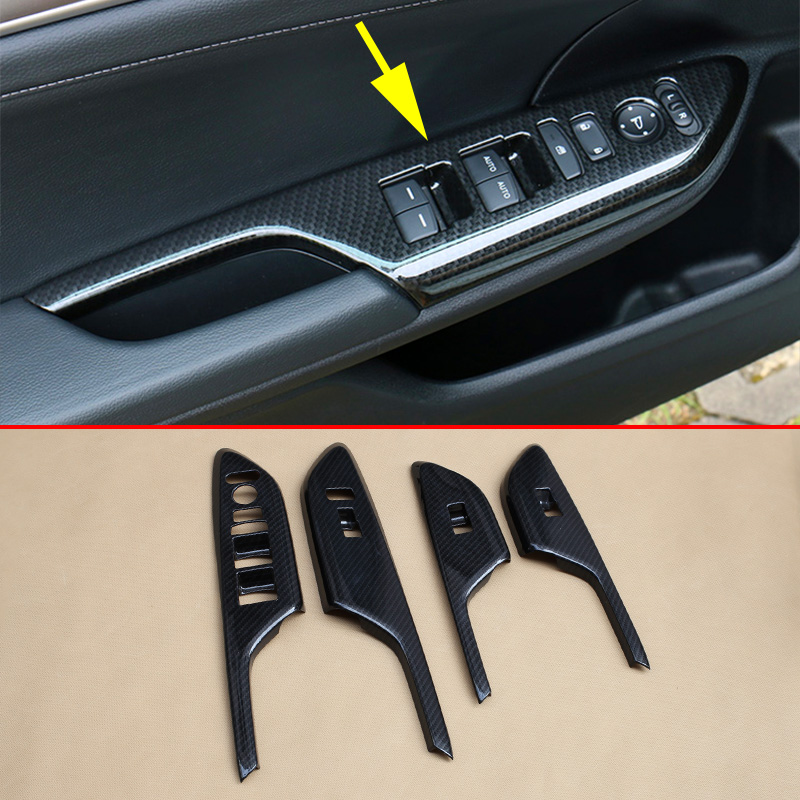 Carbon Fiber Window Switch Panel Cover Trim For Mercedes-Benz GLE W166 2015-2017