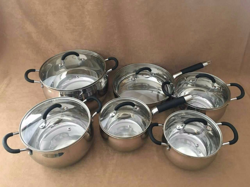 COOKWARE SET utensils casseroles inox stainless steel cooking pot 12pcs cookware pots and pans