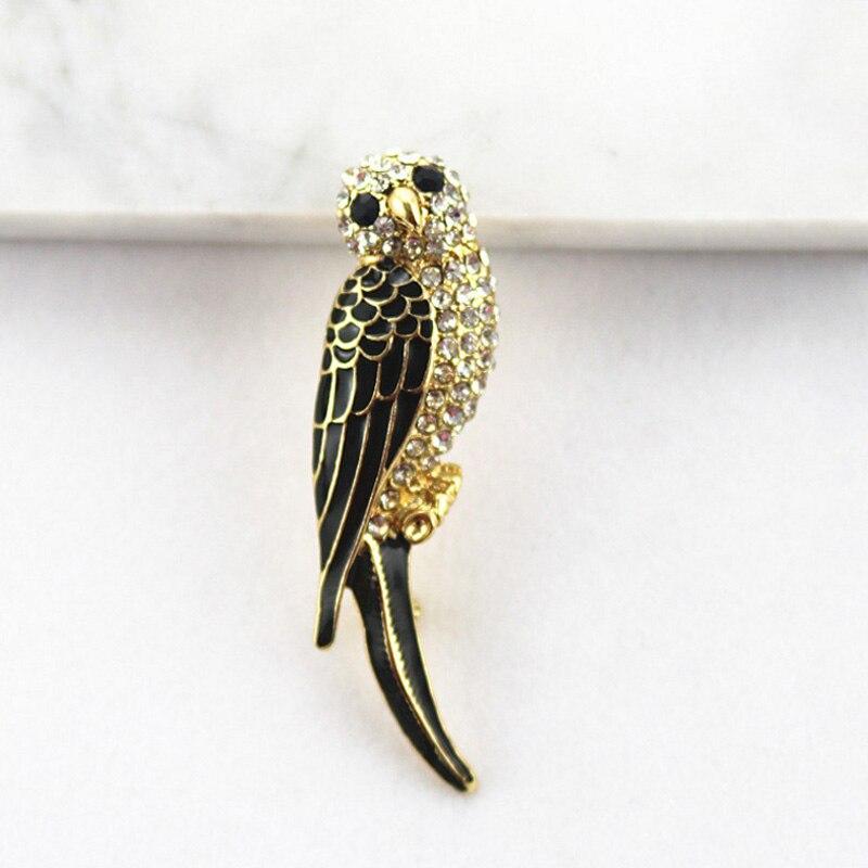 Ualgl Fashion Cute Vintage Enamel Pins Crystal Parrot - Year